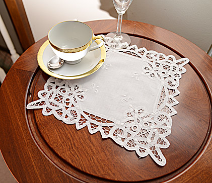 Battenburg Lace Square Doilies.11x11 inches. White. Each